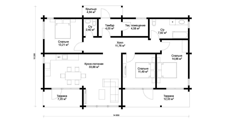 Изображение - Планировка: 1 этаж (104 кв.м)